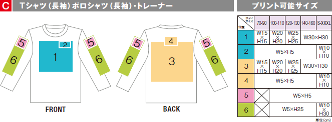 Tシャツ(長袖)ポロシャツ(長袖)トレーナーの印刷作成